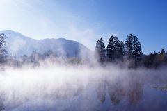 湯布院/朝霧に包まれる金鱗湖